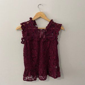Sirens Burgundy Lace Top Size Small